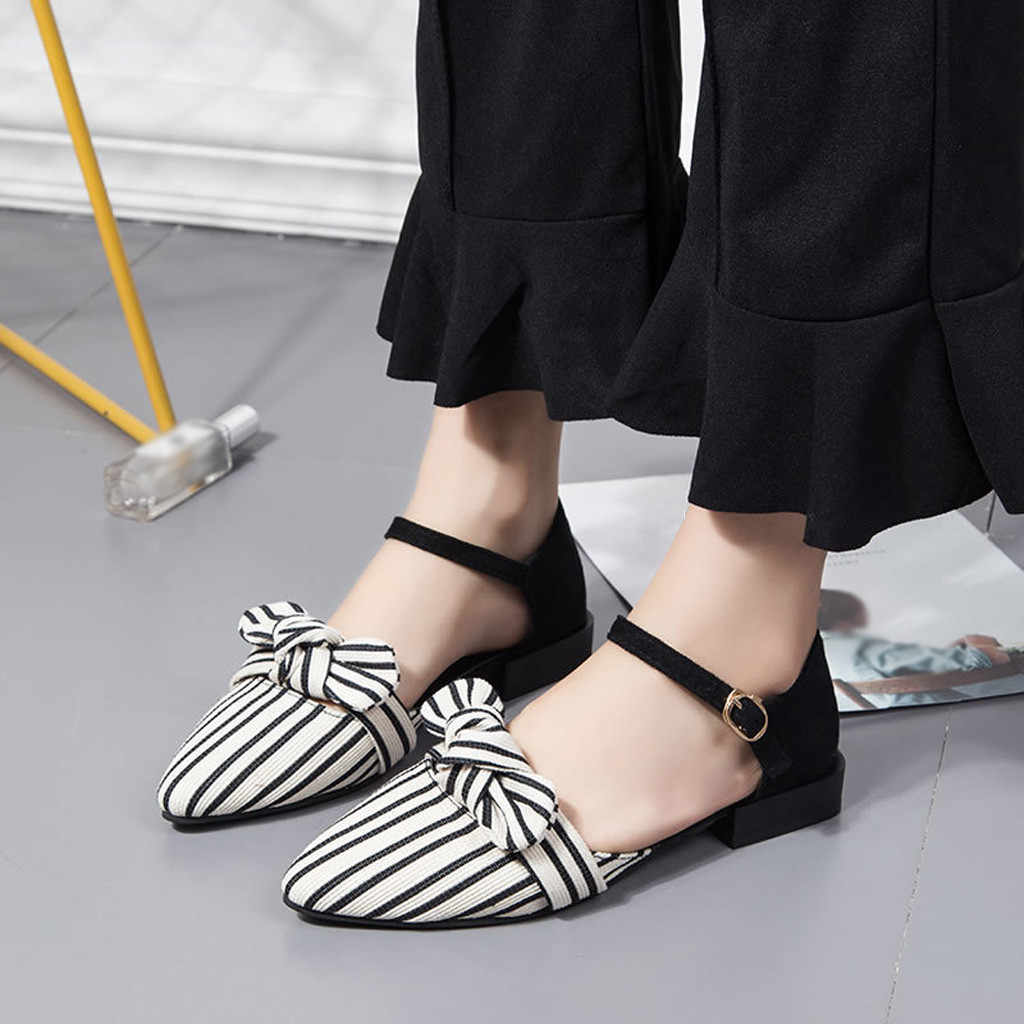 980ba54c2a7 SAGACE Shoes Women Pointed Toe Stripe Shallow Square Heel single Shoes  Buckle Strap Casual Sandals Shoes
