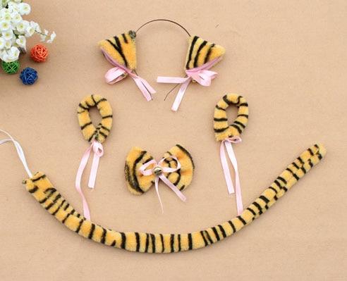 Повязка на голову с ушками neko в виде животных, белого, черного цвета, кота, тигра, аниме, хвоста 60 см, плюшевые перчатки, рождественские, пасхальные, вечерние, для взрослых и детей - Цвет: style 9