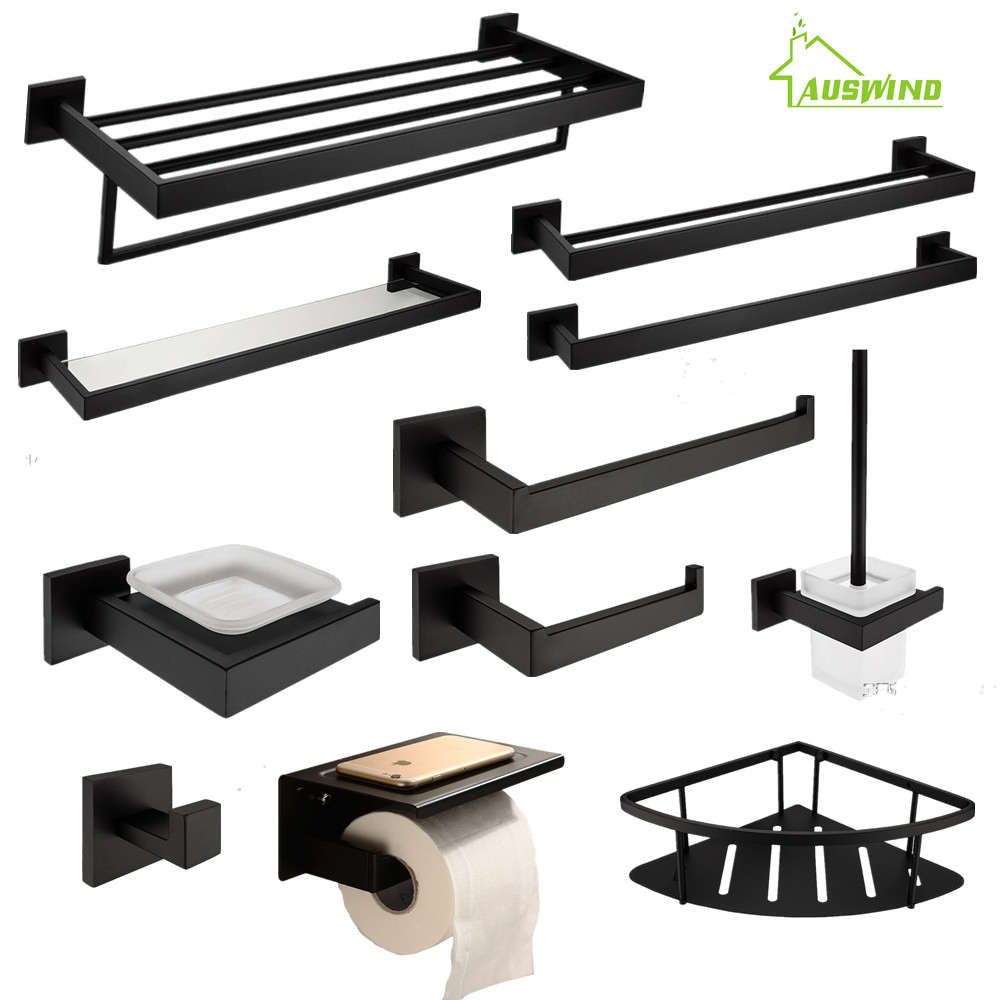 AUSWIND Black Modern 304 Stainless Steel Bathroom Hardware Set Black Oiled Bronze Square Base Wall Mount Bathroom Accessories