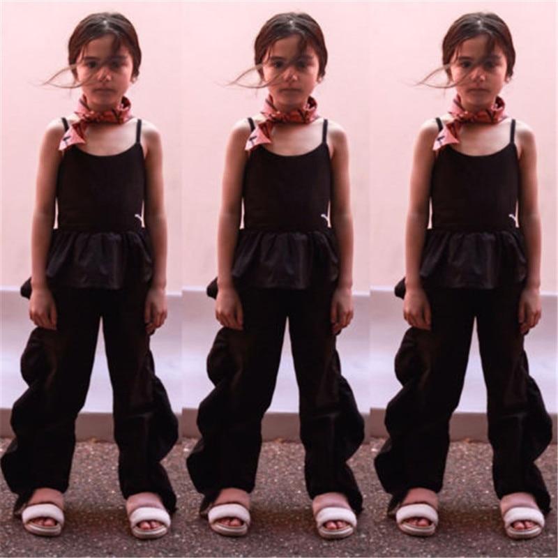Детская одежда для девочек с оборками для маленьких девочек подтяжки комбинезон дети черный летний комбинезон без рукавов комбинезон длинные брюки наряды