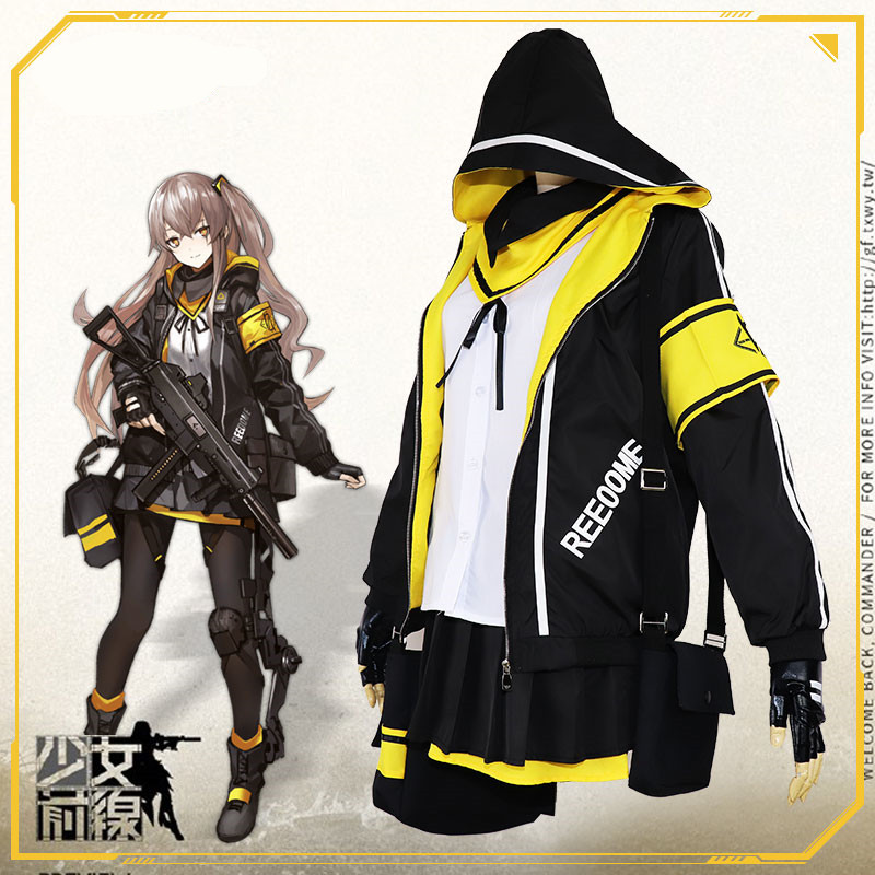 2019 Hot Game Girls Frontline Ump45 Cosplay in maiden Costume Battle Unifrom Full Set For Christmas Ump45 backpack wig Cosplay