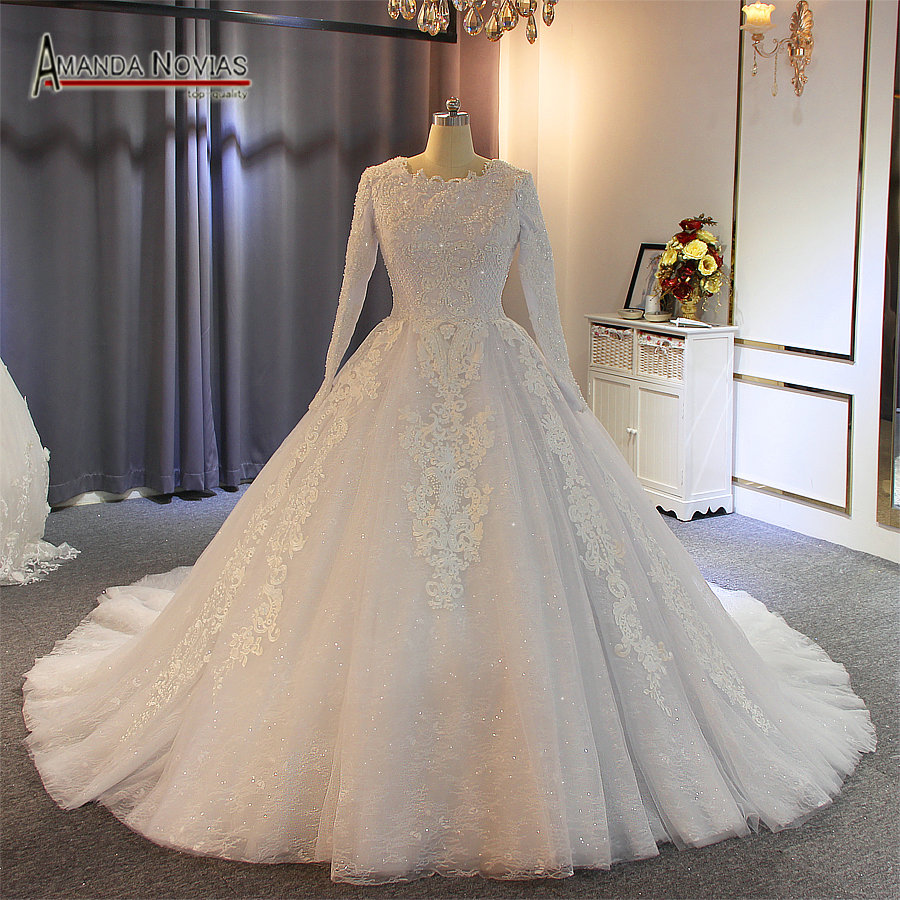 Muslim wedding dress 2019 full pearls beading 100 real work with high quality
