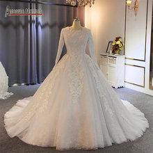 Muslim wedding dress 2019 full pearls beading 100% real work with high quality