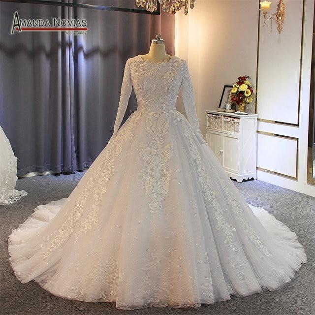 Robe de mariée musulmane, robe pleine perles, 2019 vraies perles, travail de haute qualité, 100%