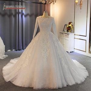 Image 1 - Vestido de casamento muçulmano 2019 pérolas completo beading 100% trabalho real com alta qualidade