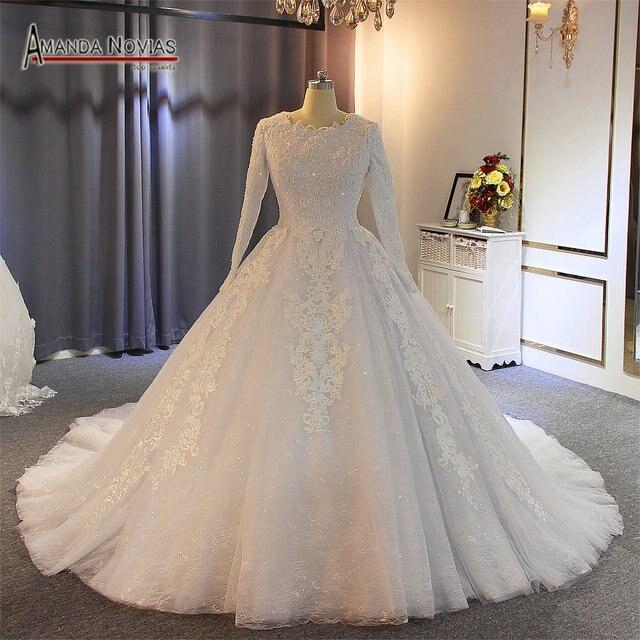 Vestido de casamento muçulmano 2019 pérolas completo beading 100% trabalho real com alta qualidade