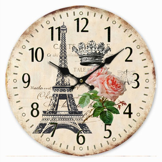 Retro Vintage Style Large Clock Paris Eiffel Tower Rose