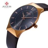 Men Watches Luxury Brand Julius Ultra Thin Full Genuine Leather Clock Male Waterproof Casual Sport Watch