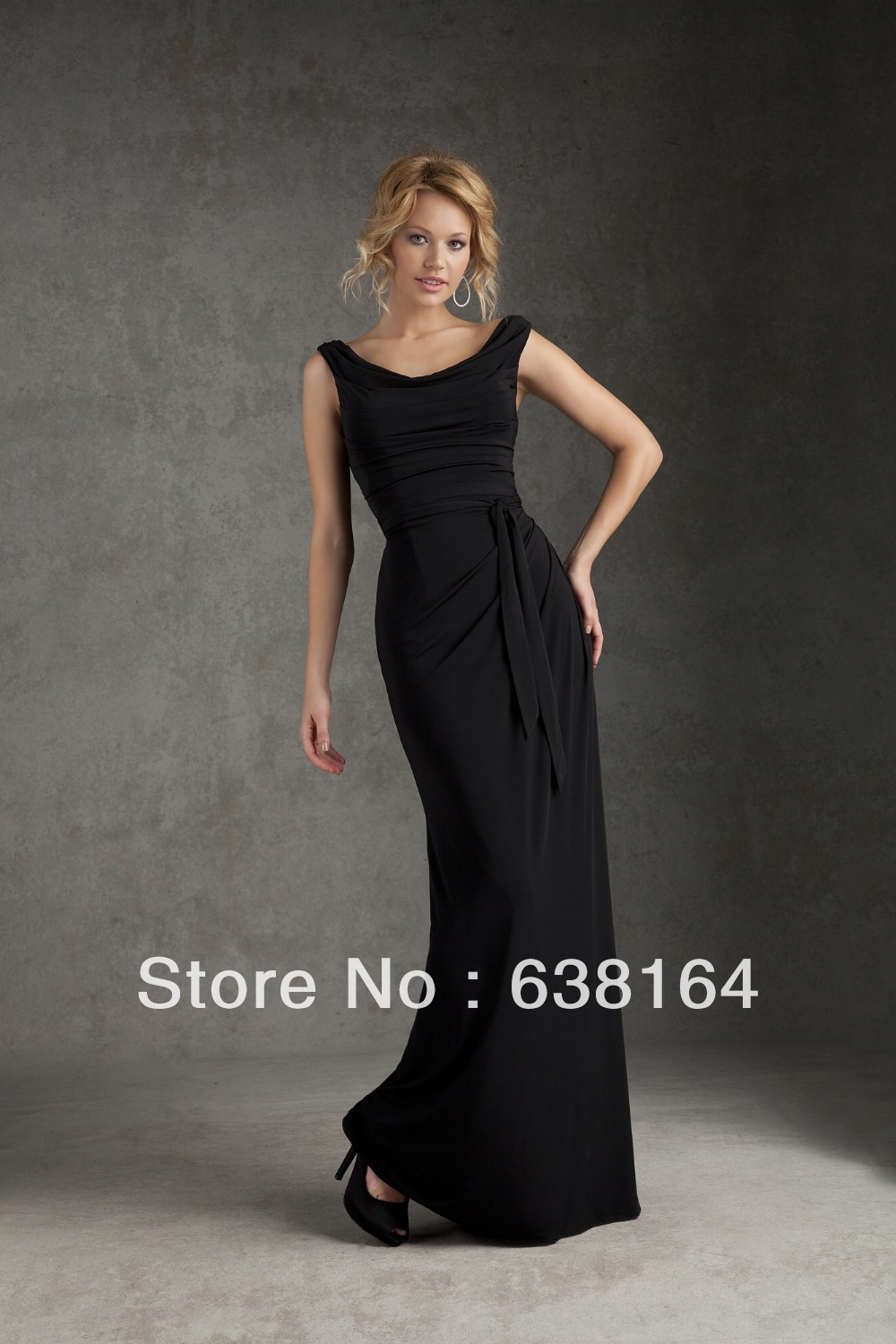 Sleek scoop a line black chiffon pleats floor length vestidos de sleek scoop a line black chiffon pleats floor length vestidos de fiesta bride maid dresses bridesmaid gowns 2014 new arrival in bridesmaid dresses from ombrellifo Images
