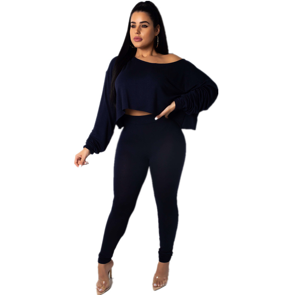 Sexy Off the shoulder Tight fitting Long sleeved Two piece Suit Jumpsuit Women 39 s Slim Long Autumn Jumpsuit in Jumpsuits from Women 39 s Clothing
