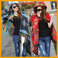 Women Bohemian Hooded Coat Cape Poncho Shawl Scarf Tribal Fringe Hoodie Jacket