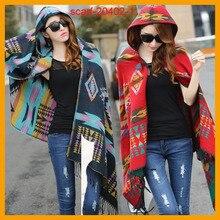 Женщины Чешские Капюшоном Пальто Кабо Пончо Шаль Шарф Племенной Fringe Толстовка С Капюшоном Куртки