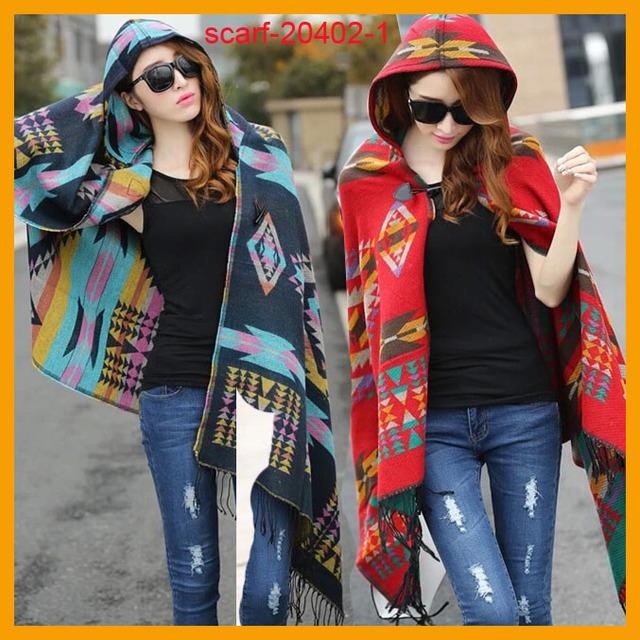 Hooded Coat Scarf Tribal Style Hoodie Jacket