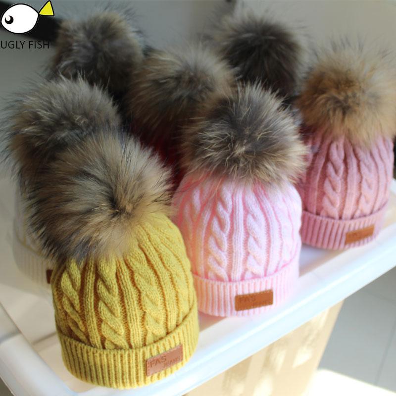 ac8b082ce0e skullies beanies for kids fur ball cap winter hats children kids boys girls  pompom skullies beanies for kids pompom hat