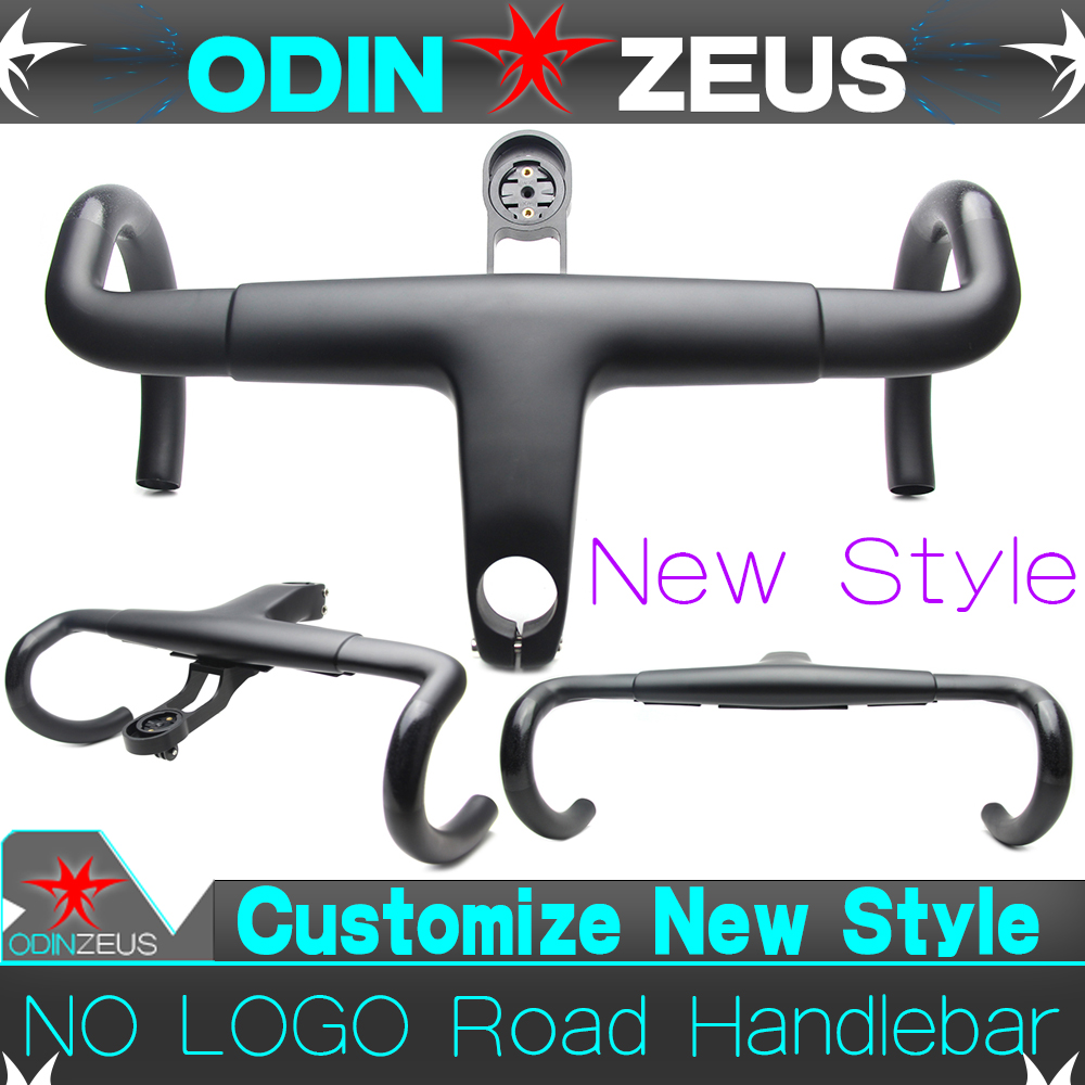 OdinZeus 2019 Newest Style Aero Integrated Road Bicycle Handlebar T800 UD Carbon Bent bar 380 400