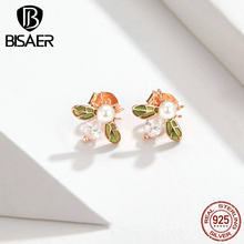 BISAER Bee Earrings 925 Sterling Silver Busy Insect Bee Stud Earrings for Women Fashion Insect Earrings Jewelry ECE643(China)