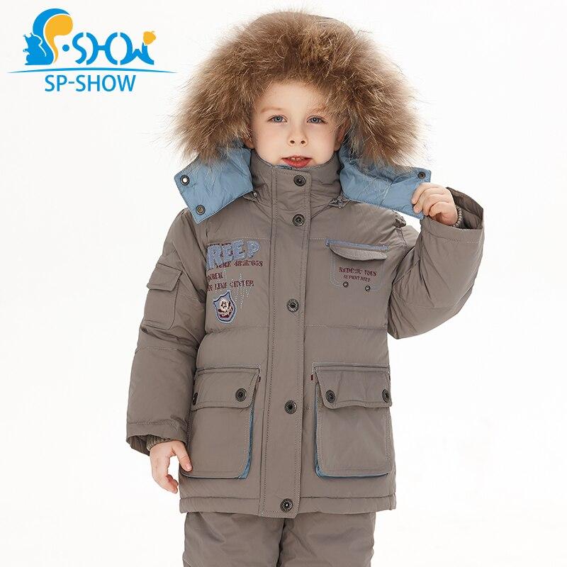 SP-SHOW-30 graus SP-SHOW Inverno 90% Branco para baixo terno de natureza chapéu de pele Quente Grossa Para Baixo O terno Para 2- 6 idade