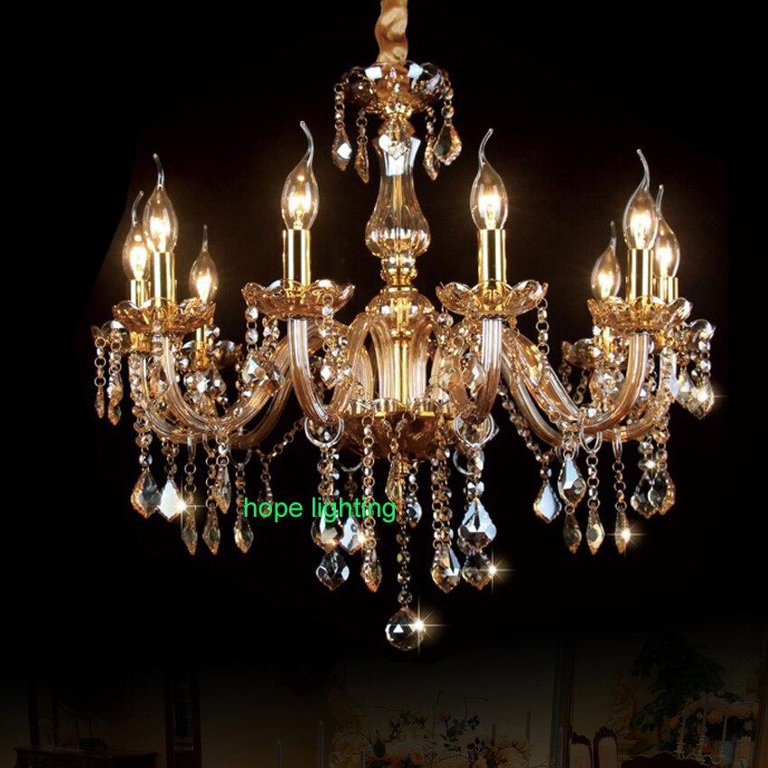 Moda moderna lámpara de cristal comedor lámpara cristal candelabros vela para el hogar vela Europea candelabros Iluminación de interiores lámpara techo araña cristal lamparas colgante luces colgantes cocina