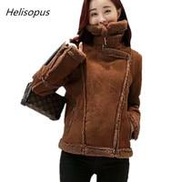 Helisopus 2018 Fashion Wool Short Biker Faux Leather Suede Jackets Women Autumn Winter Warm Casual Coat