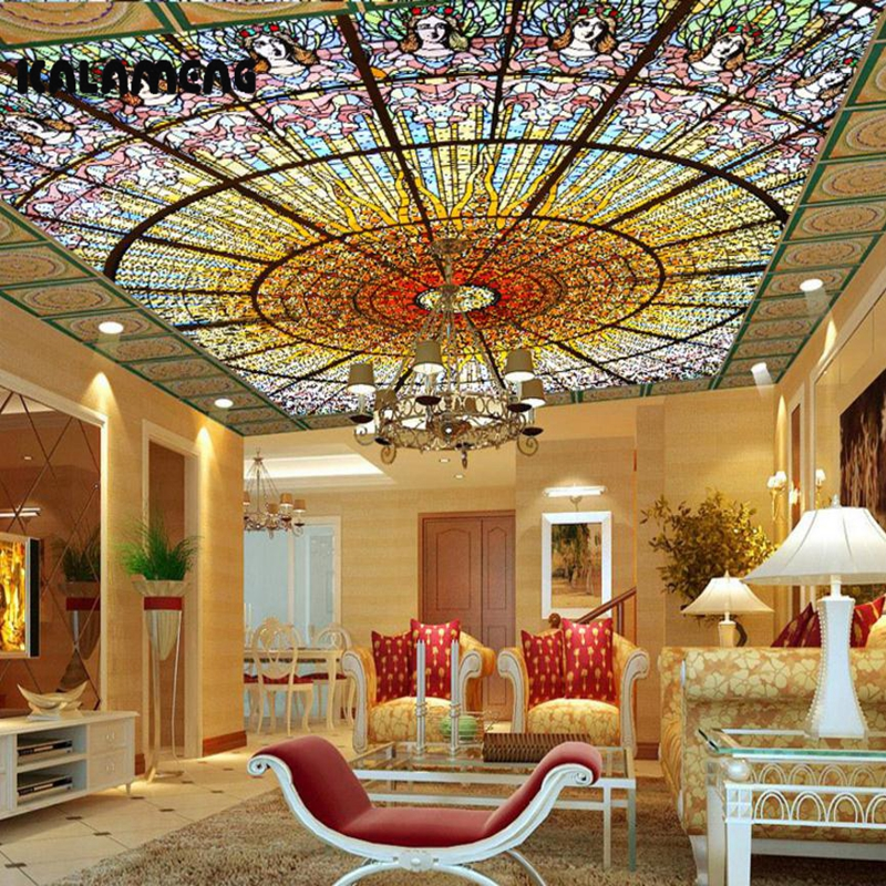 KALAMENG 3D Mural Wallpapers Custom Paint Color Church Ceiling Design Background Bedroom Living Room Wall Murals Papel De Parede european church square ceiling frescoes murals living room bedroom study paper 3d wallpaper