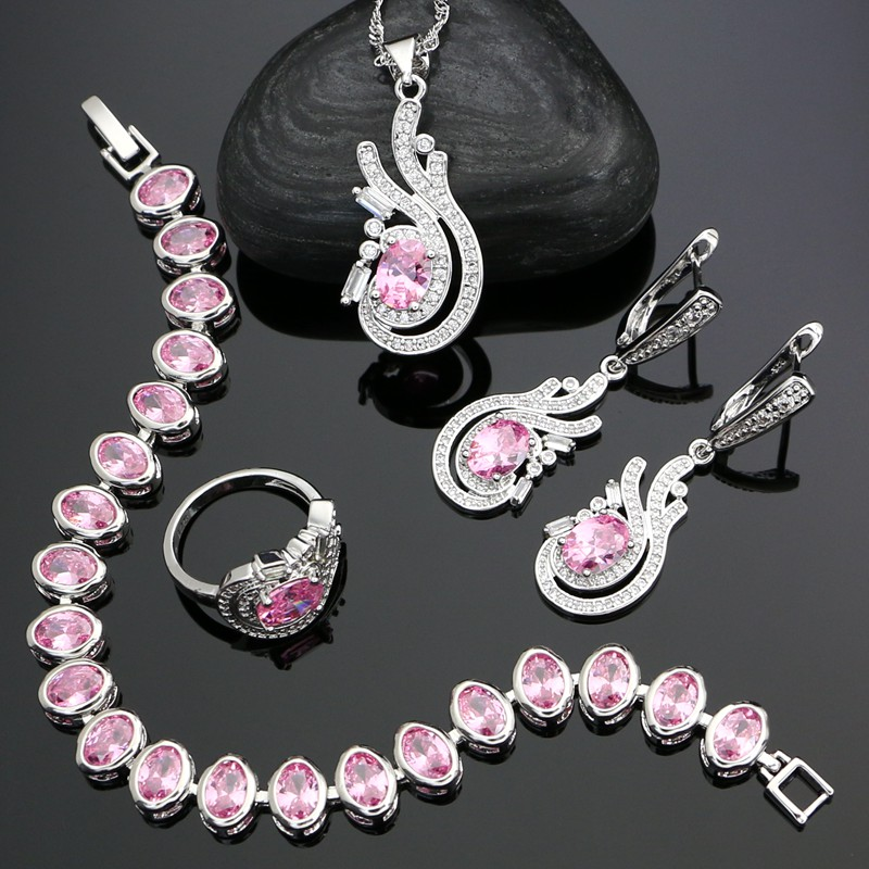 Wedding-Jewelry-Sets Silver-Set Bridal-Accessories Bracelet/necklace for Pink