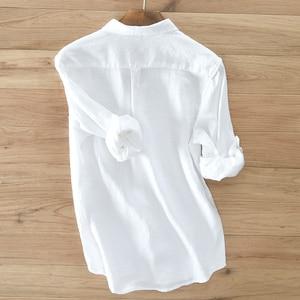 Image 2 - גברים של 100% טהור פשתן ארוך שרוולים חולצה גברים מותג בגדי גברים חולצה S 3XL 5 צבעים מוצק לבן חולצות גברים camisa חולצות mens