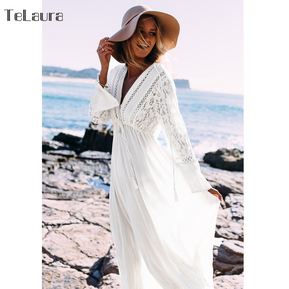 Image 4 - 2019 Sexy Beach Cover Up Swimsuit White V Neck Hollow Out Beach Long Dress Women Bikini Swimwear Bathing Suit Summer Beach Tunic-in Cover-Ups from Sports & Entertainment