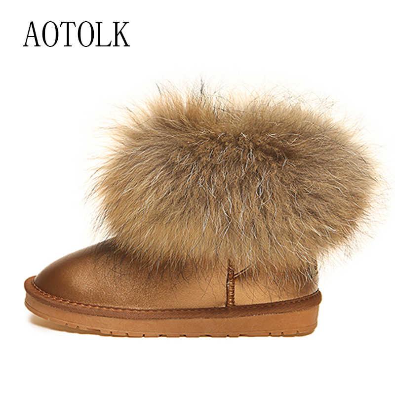 Kadın çizmeler hakiki deri gerçek tilki kürk marka kış ayakkabı sıcak siyah yuvarlak ayak rahat artı boyutu kadın kar botları yeni varış