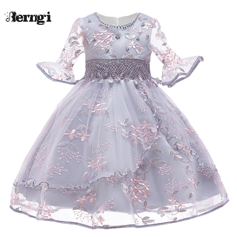 Berngi Kids Girl Flare sleeves Embroidered Gauze Princess Dress Neckline Beaded Dress For Child's Wedding Birthday Party Outfits