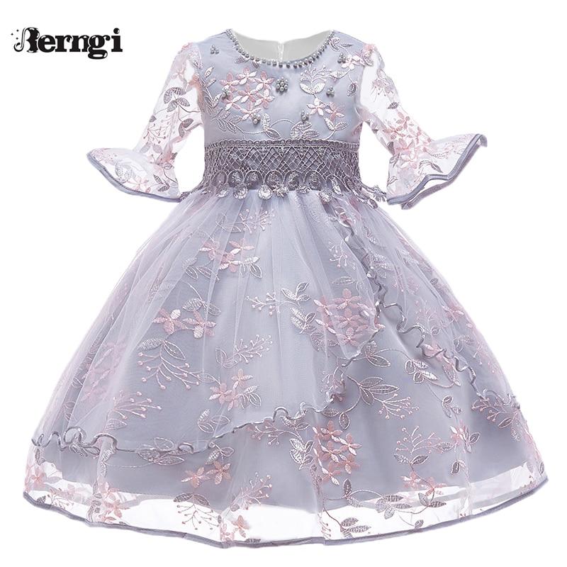 Berngi Kids Girl Flare sleeves Embroidered Gauze Princess Dress Neckline Beaded Dress For Child's Wedding Birthday Party Outfits недорго, оригинальная цена