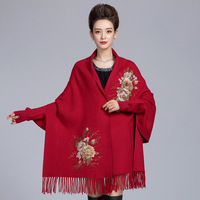 Burgundy Women Bling Faux Crystal Scarf Autumn Winter Artificial Cashmere Warm Shawl Wrap Hijab Embroidery Floral Shawls Stole