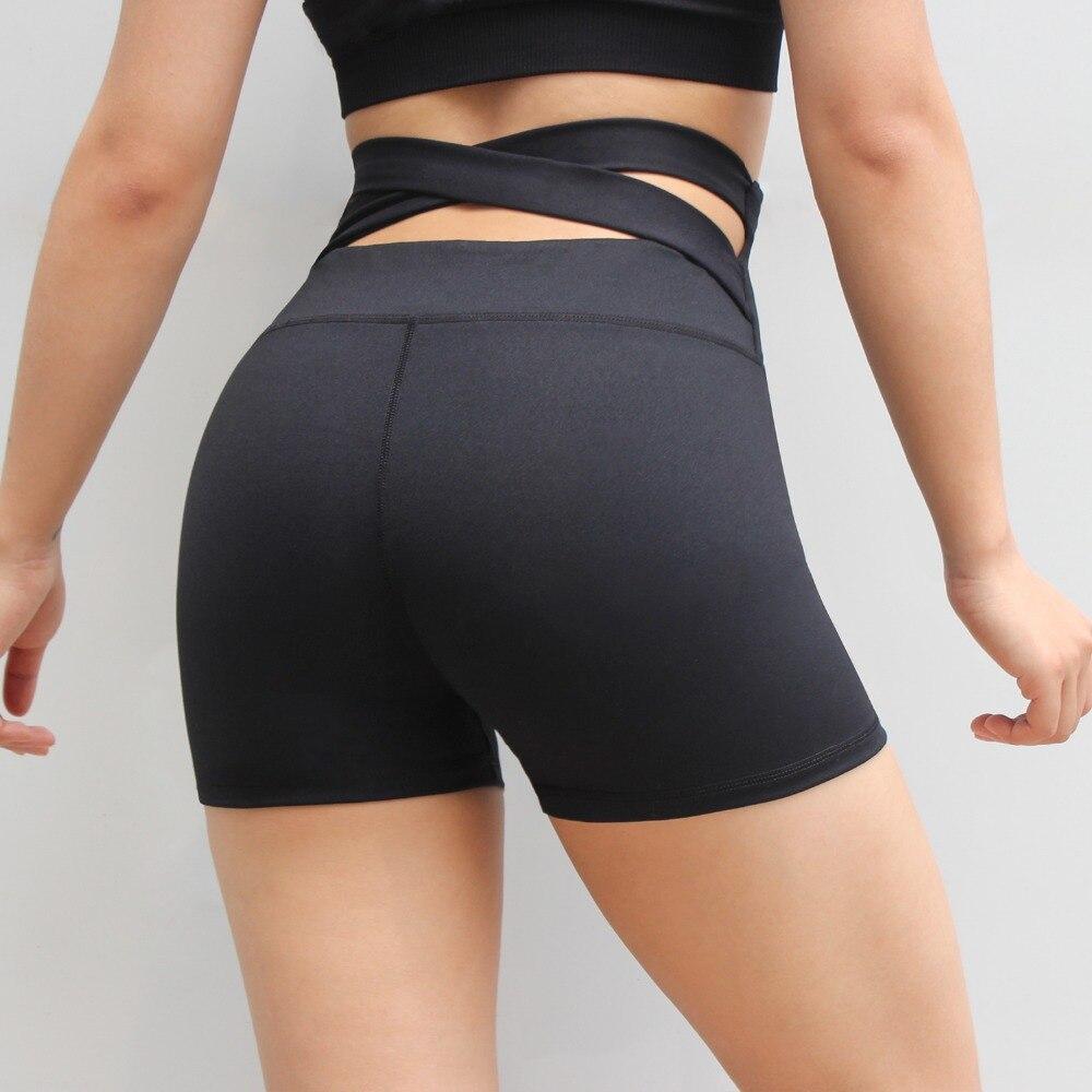Women High Waist Fitness Shorts Spandex Cross Back Yoga Push Up Shorts Women Fitness Yoga Shorts Black Workout Clothing