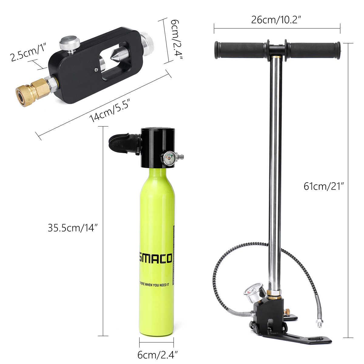 مصغرة نظارة غوص أسطوانة أكسجين الهواء خزان الغوص اليد مضخة البسيطة نافخة مع ضغط مجموعة عدادات قياس الغوص اكسسوارات مجموعة