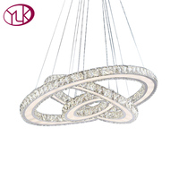 Youlaike Modern LED Chandelier Lighting For Living Room Three Ring Living Room Hanging Crystal Light Fixtures