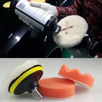 Limpeza da lavagem de carro polimento bruto kit almofada de polimento para carro automático roda polimento kit buffer com adaptador broca|kit kits|kit for car|kit clean -
