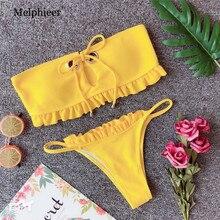 Melphieer New Yellow Bikini Girls Ribbed Swimsuit Summer Metal Circle Swimwear Brazilian Push Up Bathing Suit Swim Biquini