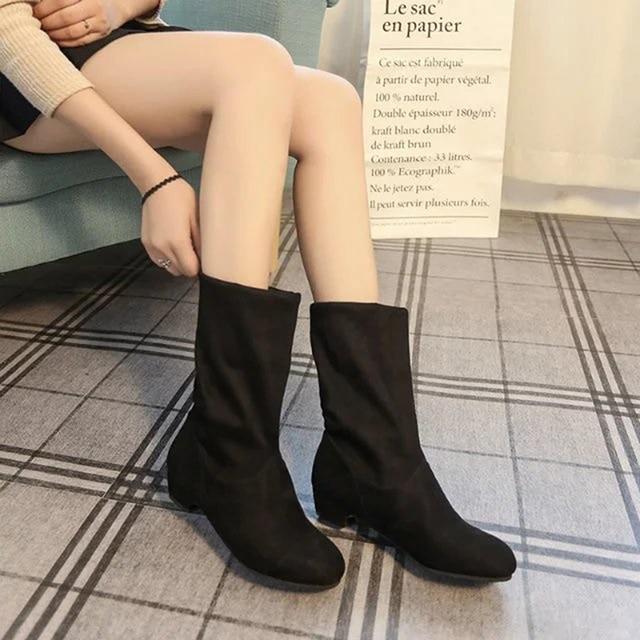 2018 jesień buty damskie zimowe połowy łydki Martin buty marki mody kobiet Stretch bawełna tkaniny Slip-on buty płaskie buty kobieta