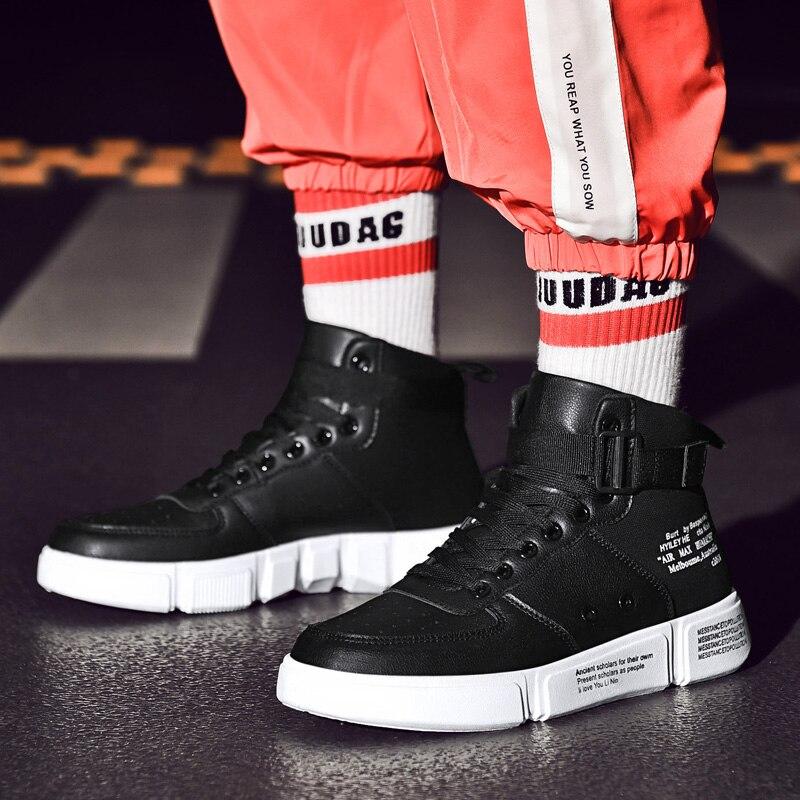 Cuir Pu De Mode Jeunes Hommes Automne Casual Zyyzym Chaussures Style Spirng Confortable Sneakers Tendance blanc Noir Haute En XF0ARq