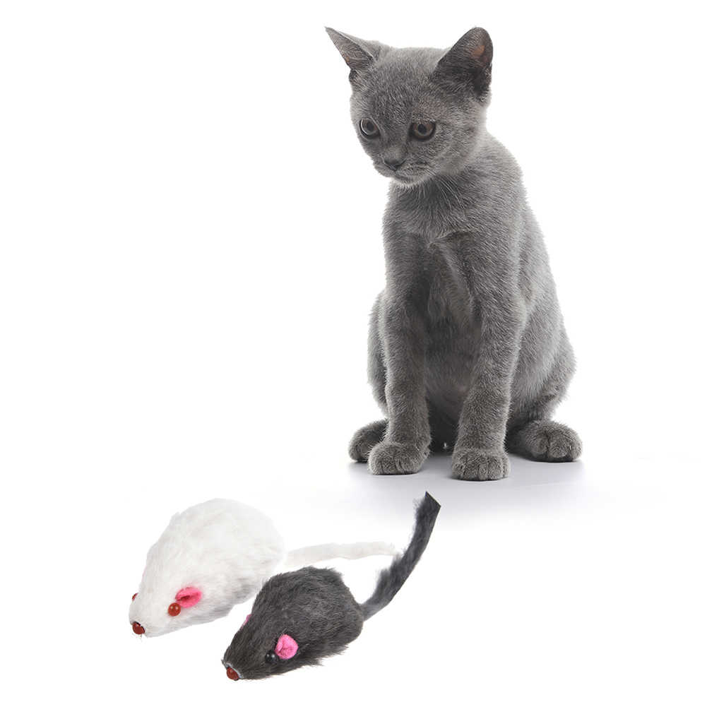 12 PCS Mouse Real Fur Mixed Loaded Toys for Pet Cat Kitty with Sound Simulation Fluff Mouse Toys Mixed Color