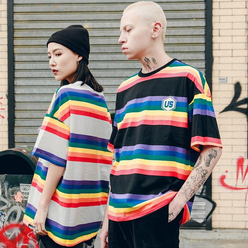 Us 15 65 45 Off 2019 Men Hip Hop T Shirt Harajuku Rainbow Striped T Shirt Korean Style Retro Streetwear Summer Tops Tees Cotton Tshirt Oversized In