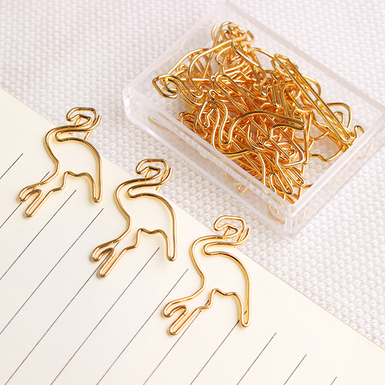 Shiny Gold Flamingo Paper Clip Gold Metal Bookmark Creative Lovely Cute Office Accessories Fashion Paper Clips Gold Paper Clips