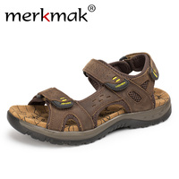 Merkmak Genuine Leather Summer Men Outdoor Sandals Beach Casual Shoes Sandals Quick Dry Protective Walking Shoes Large Size