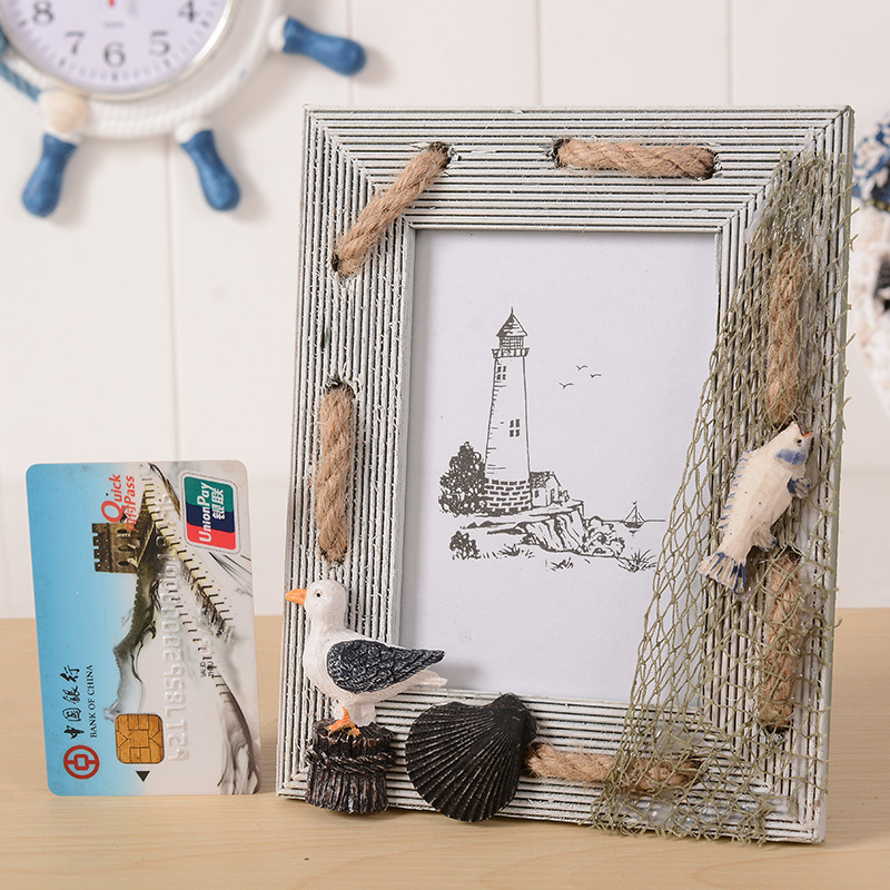 style wood hanging photo frame seashell painted pictures frame on wall or tesktop home picture