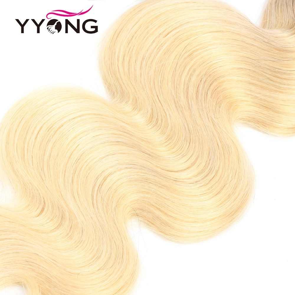 Yyong Brezilyalı Vücut Dalga 1b/613 Demetleri Ile Frontal 100 Insan Saçı Sarışın Demetleri Ile Kapatma Remy Dantel Frontal demetleri ile