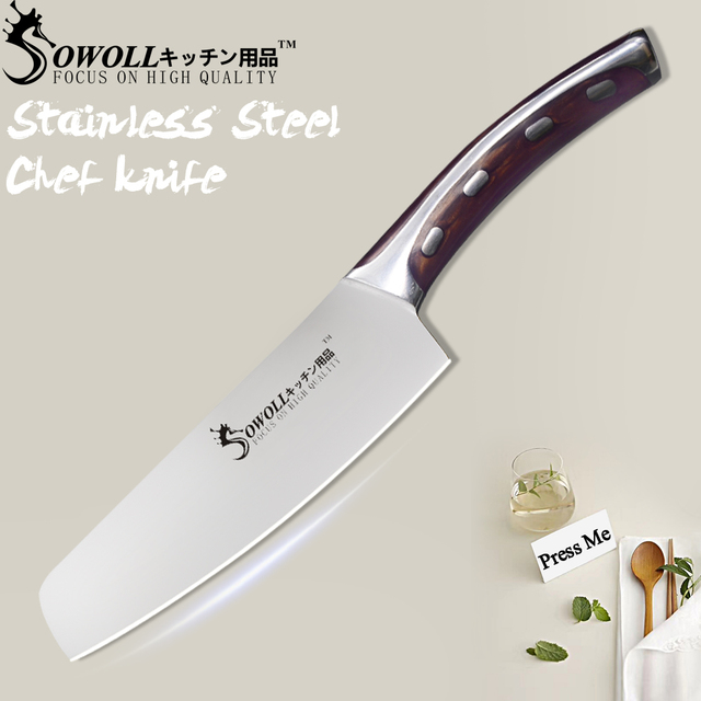 """SOWOLL Seamless Welding Kitchen Knife 4CR14 Stainless Steel Knife 6"""" Non-stick Chef Knife Light Weight Cooking Accessories Tools"""