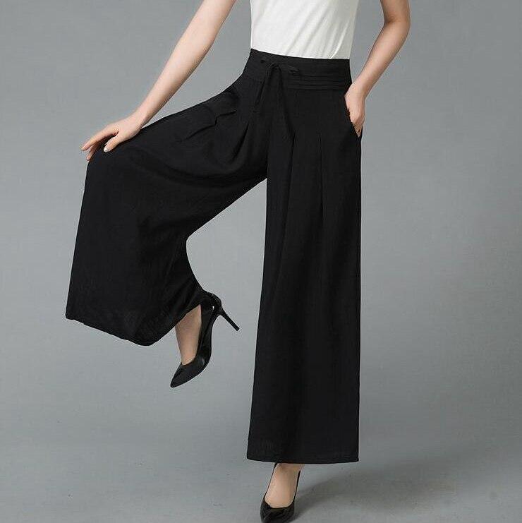 #2803 Summer Solid Color   Wide     Leg     Pants   Plus Size Elastic High Waist Loose Pleated Cotton Linen   Pants   Women Skirt   Pants   Female