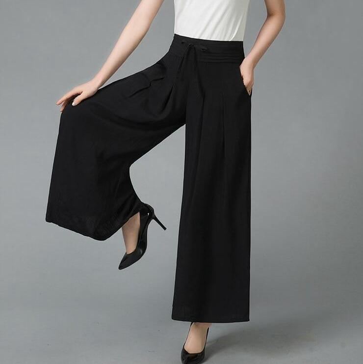 #5403 Summer Solid Color   Wide     Leg     Pants   Plus Size Elastic High Waist Loose Pleated Cotton Linen   Pants   Women Skirt   Pants   Female