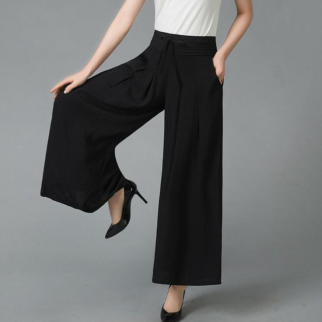 042df912c0e  5403 Summer Solid Color Wide Leg Pants Plus Size Elastic High Waist Loose  Pleated Cotton Linen Pants Women Skirt Pants Female