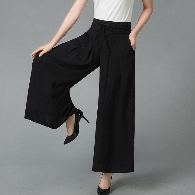 3ff443c7e89f  5403 Été Solide Couleur pantalon large en bas grande taille Élastique  Taille Haute Plissée Lâche