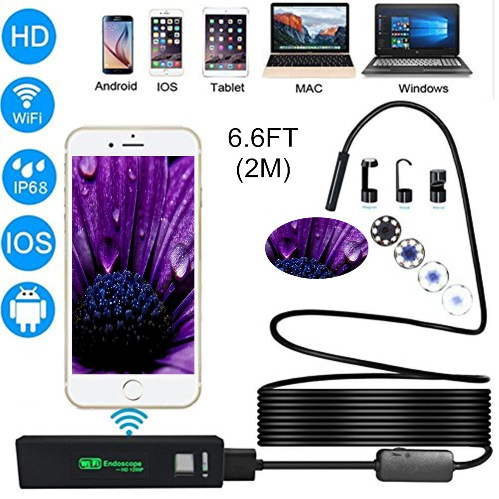 WIFI Endoscope Camera HD 1200P 2-10M Mini Waterproof Hard Wire Wireless 8mm 8 LED Borescope Camera For Android PC IOS Endoscope
